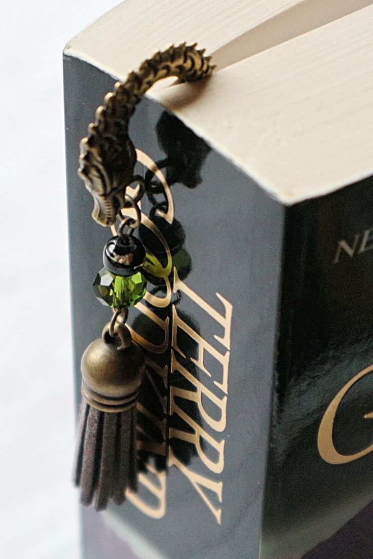 Dragon Bookmark Metal Book Lover Gifts for Readers Fantasy Gift for Him Bookworms Boyfriend Unique Bronze Tassel Beads Reading Accessory