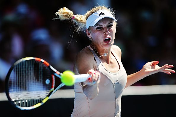 Caroline Wozniacki of Denmark plays a forehand in her singles final match against Venus Williams of USA during day six of the 2015 ASB Classic at ASB Tennis Centre on January 10, 2015 in Auckland, New Zealand