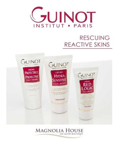 Guinot Protection Face Cream defends, nourishes and moisturizes sensitive skin, restoring natural defenses, radiance and fading redness. It is a protective shield, soothing, repairing hydrator for vulnerable skin and sensitive skin. It works great to calm sunburn and hypersensitive skin. Pick one or pick all. This month all are 20% off.