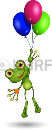 Ilustraci�n de una rana de dibujos animados en los globos photo