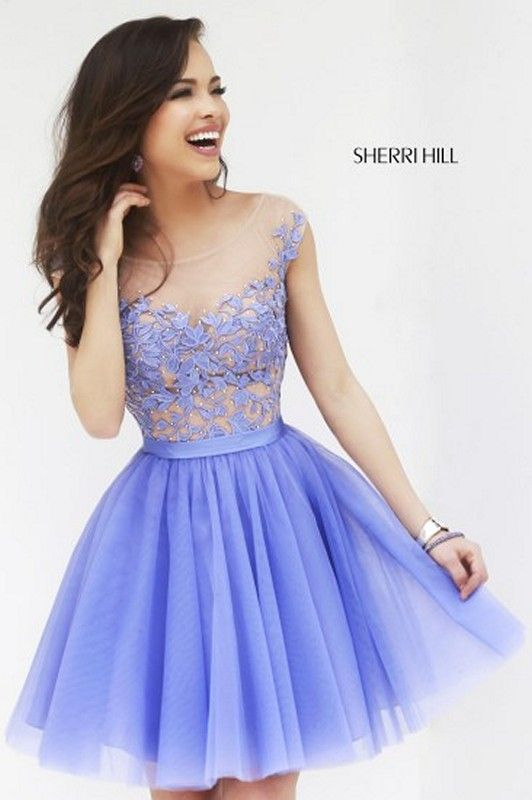 Sherri Hill 11171 Floral Embroidered Sheer Illusion Tulle Short