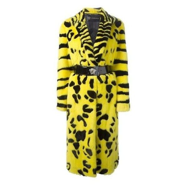 Preowned Iconic Very Rare Versace Zebra Animal Intarsia Mink Coat Fall ❤ liked on Polyvore featuring outerwear, coats, animal print coat, yellow coat, versace, mink coat and versace coat