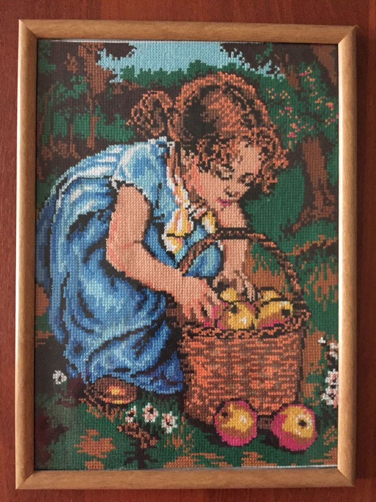 Completed cross stitch Home decoration Handmade embroidery - Girl with a basket. #Handmade #CrossStitch