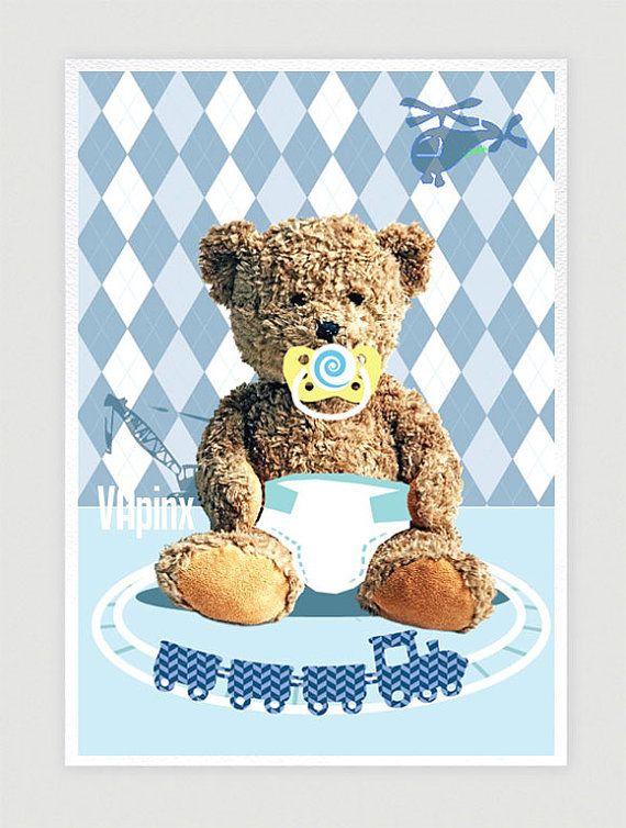 nursery art print teddy bear kids room decor baby boy blue wall art for children. Black Bedroom Furniture Sets. Home Design Ideas