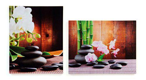 2 wandbilder orchidee auf steingarten bambus feng shui, Terrassen ideen