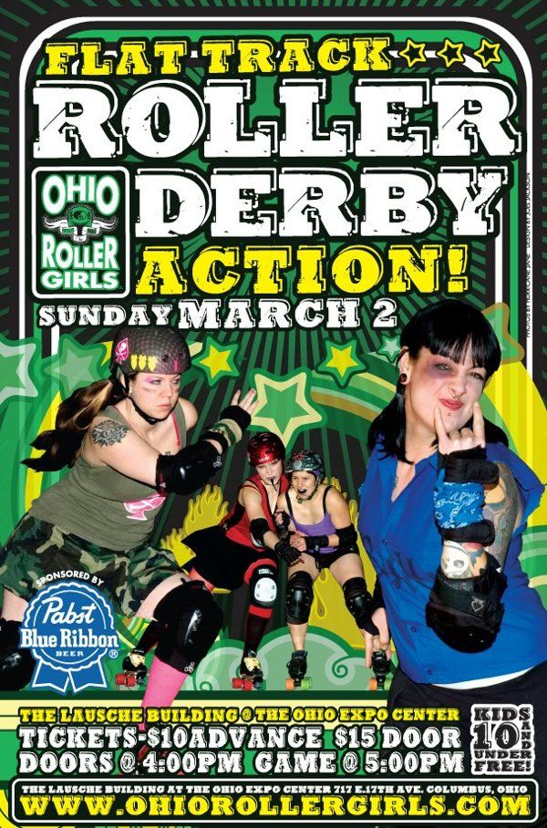 Ohio Roller Girls - Bout Poster by Joel Jackson, via Behance. Collage with strong type and graphics treatment.