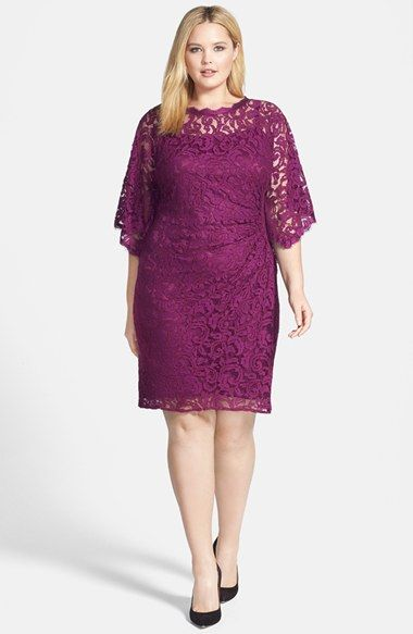 Adrianna Papell Kimono Sleeve Lace Sheath Dress (Plus Size) available at #Nordstrom