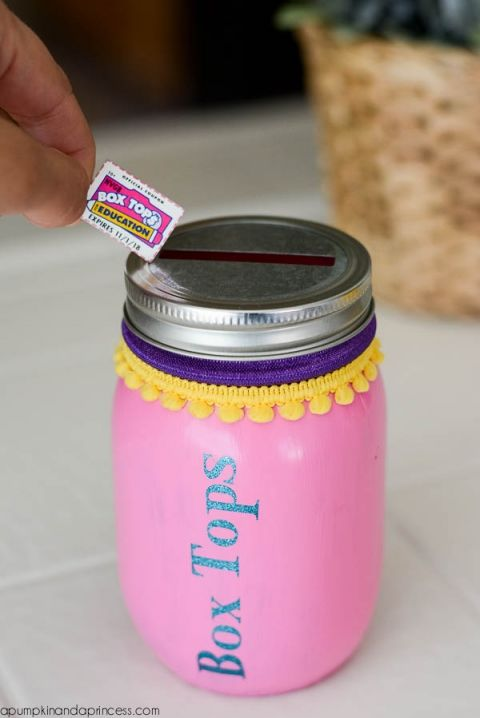 Mason Jar Box Tops piggy bank                                                                                                                                                                                 More