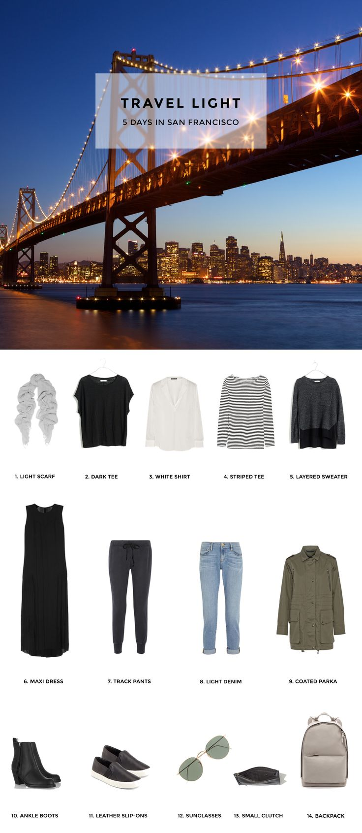 Travel Light - Pack for 5 Days in San Francisco - Includes packing list and outfits.