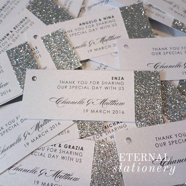 Glitzy bonbonniere Tags.  Created by Eternal Stationery www.eternalstationery.com.au