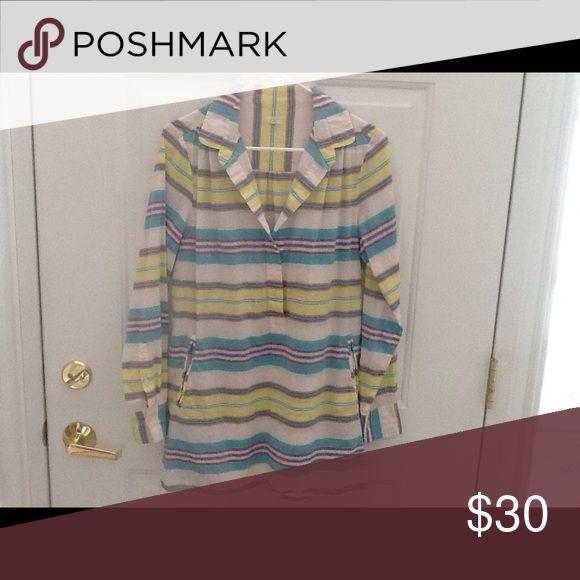 Long shirt Beautiful, striped long J Crew shirt, worn twice J. Crew Tops Tunics