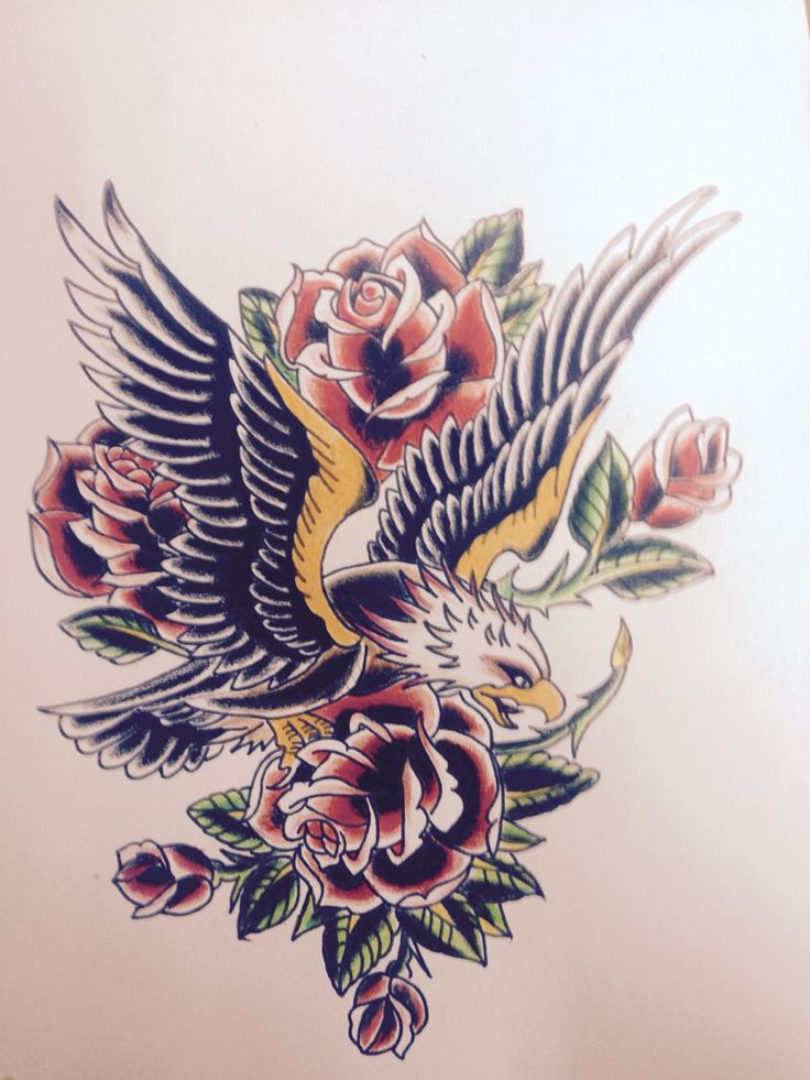 Eagle, roses, tattoo apprentice