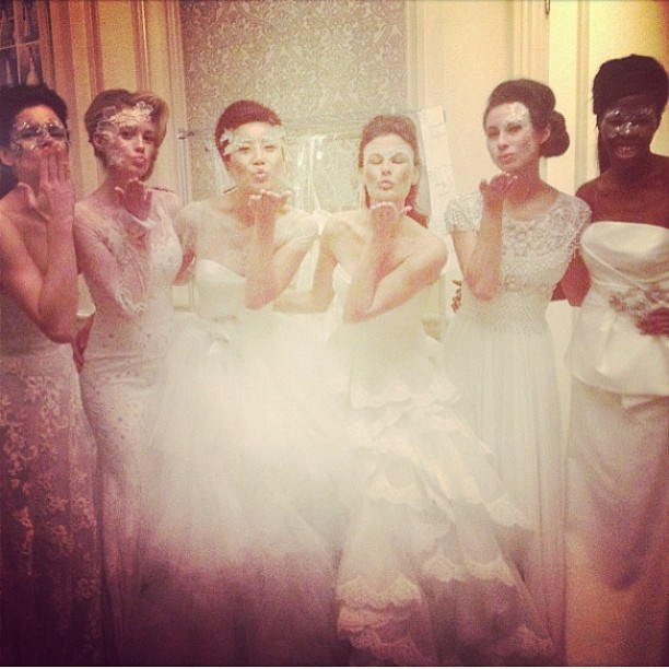 Model Cassandra Tressler and models backstage at the Marchesa show @the Washingtonian.