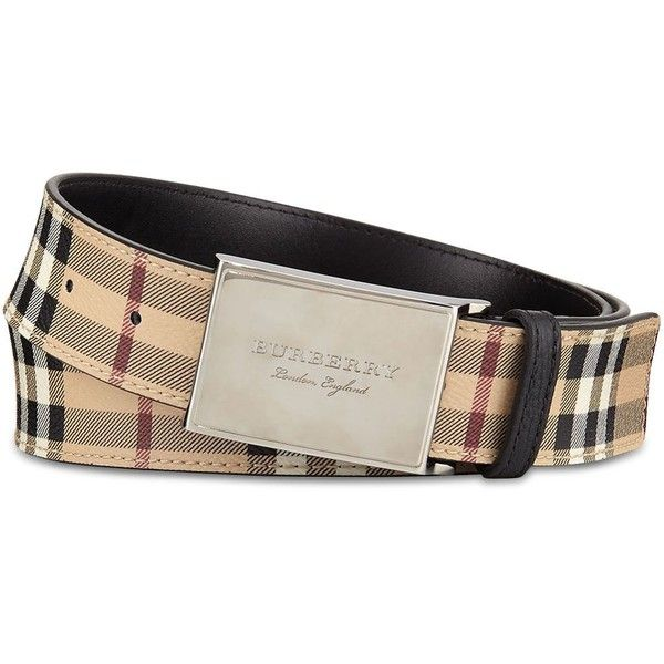 Burberry George Haymarket Belt ($275) ❤ liked on Polyvore featuring men's fashion, men's accessories, men's belts, black, burberry mens belt, mens leather belts, mens leather accessories, mens real leather belts and mens genuine leather belts