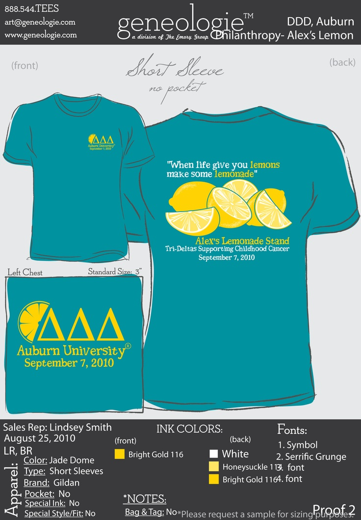 Tri Delta tshirt for Alex's Lemonade stand! Lemonade