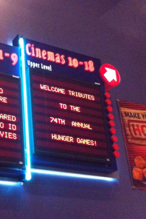 Awesome cinema sign. I wish my theater had been as excited. Me and my friends were kind of busy scaring the people working there by screaming about every little thing. It's good to get it out of my system.