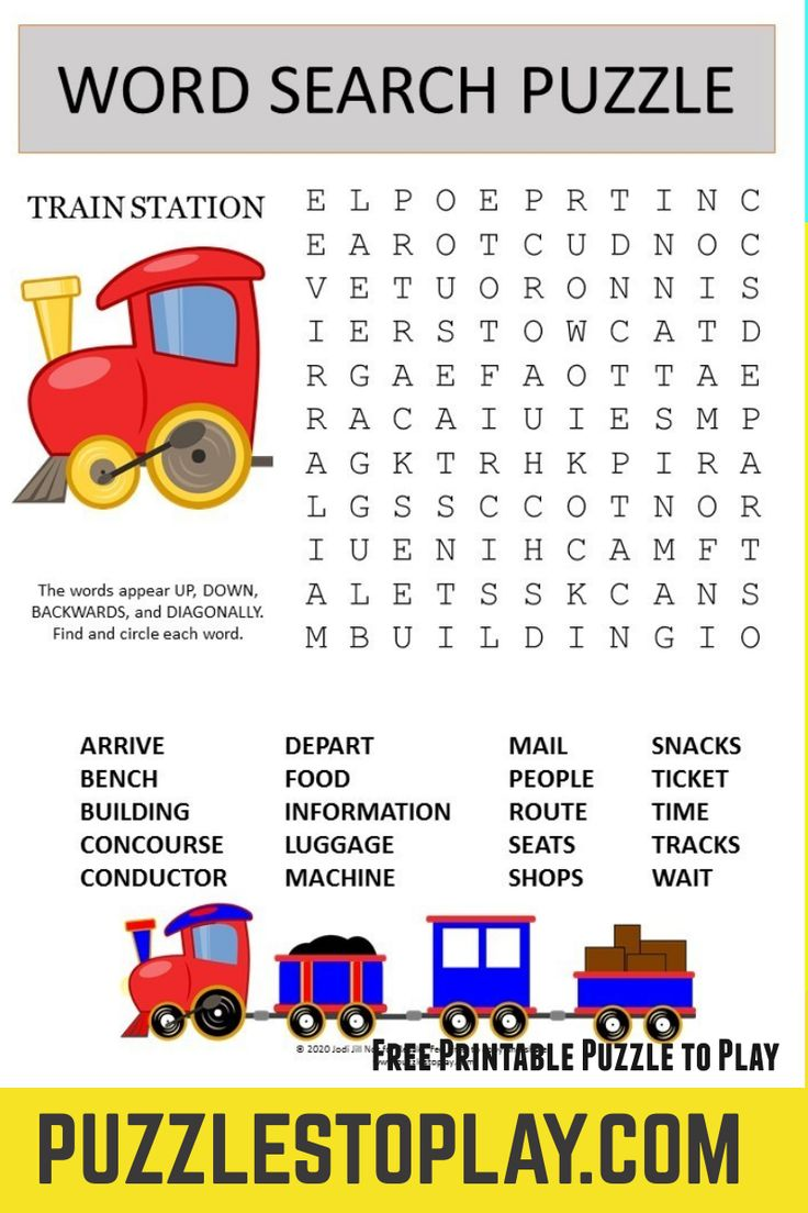 Train Station Word Search Puzzle In 2021 Kids Word Search Family Card Games Train Station