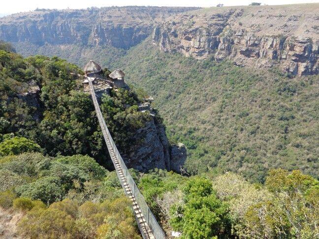 Lake Eland game reserve. Suspension bridge over Oribi Gorge. South Africa.