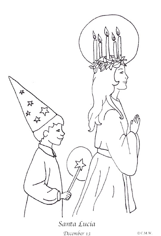 st lucia coloring page--One of my favorite things of Swedish Christmas