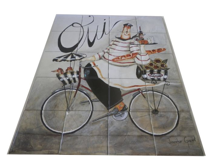 Oui   Tile Mural French Waiter Riding A Bicycle Carrying A Tray Of Wine And  Cheese