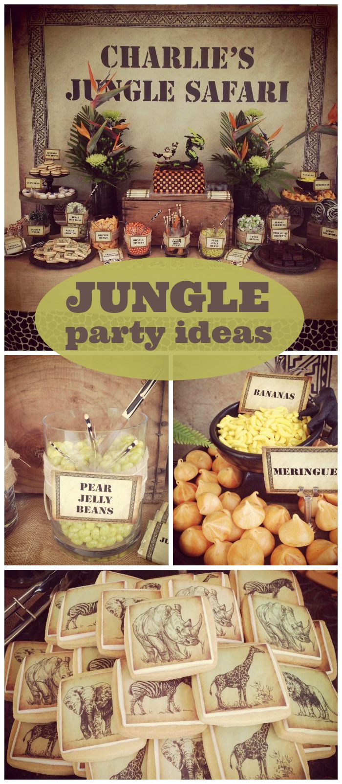 A jungle safari boy birthday party with jungle animal cookies and leopard painted macarons!  See more party plannning ideas at CatchMyParty.com!
