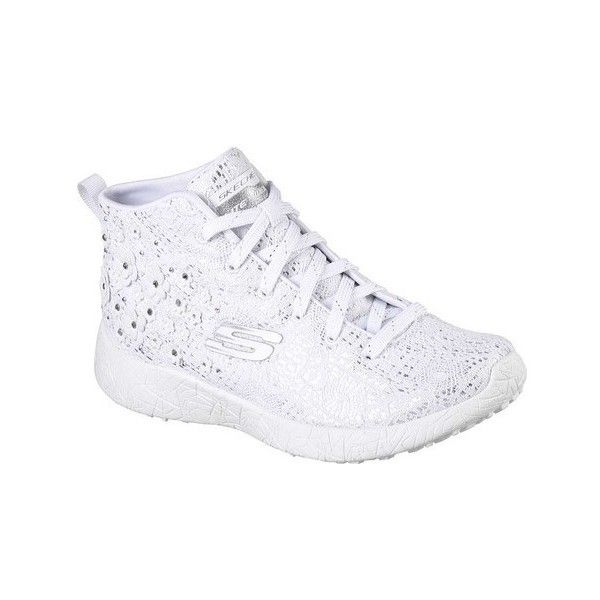 Women's Skechers Burst Seeing Stars High Top ($50) ❤ liked on Polyvore featuring shoes, sneakers, casual, white sneakers, white high tops, white mesh sneakers, skechers shoes and floral sneakers