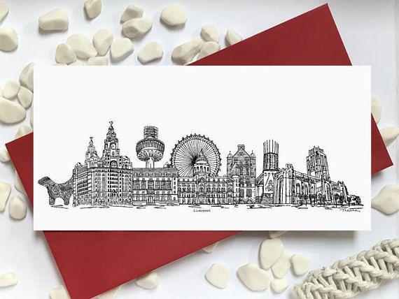 Liverpool card  skyline landmark landscape card  Liverpool