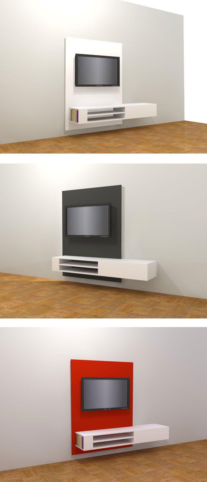 Floating TV-stand / cabinet 'Jordi'. Modern DIY, Design by NeoEko. | Hangend TV-meubel 'Jordi' om zelf te bouwen. Modern tv-meubel om zelf te maken. Meubelwerktekening.nl