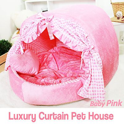 I love this for my girly girl Chihuahua. Luxury Pet Bed Baby Pink Curtain House Large Plush Soft Cave Bed for Dog Cat   eBay