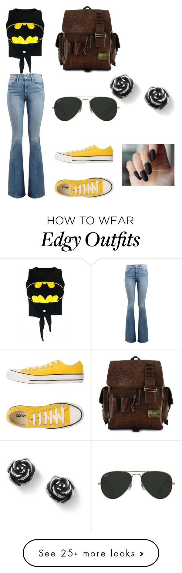 """Nerd Chic"" by coamhielee on Polyvore featuring WithChic, Frame, Converse, Loungefly and Ray-Ban"