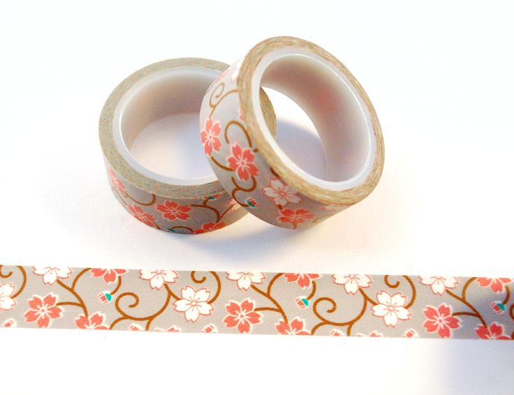 "Washi Tape ""Grey Flowers"" von ApfelZimtMuffin auf DaWanda.com"