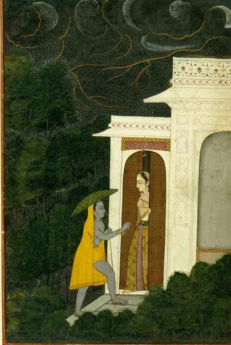Krishna Visits Radha on a Stormy Night. Present Location: Uttar Pradesh, Varanasi (Banaras), Banaras Hindu University, Bharat Kala Bhavan Museum. Guler, Kangra District, Himachal Pradesh, India. Date: ca 1790 CE