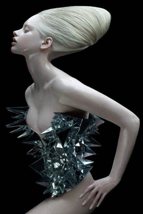 Art Fashion, Avant-Garde Fashion, Futuristic, alien-human with awesome hair.