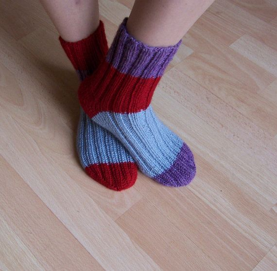 Hand Knitt Socks Women Wool Socks Striped  Socks Odd by evefashion, £18.00