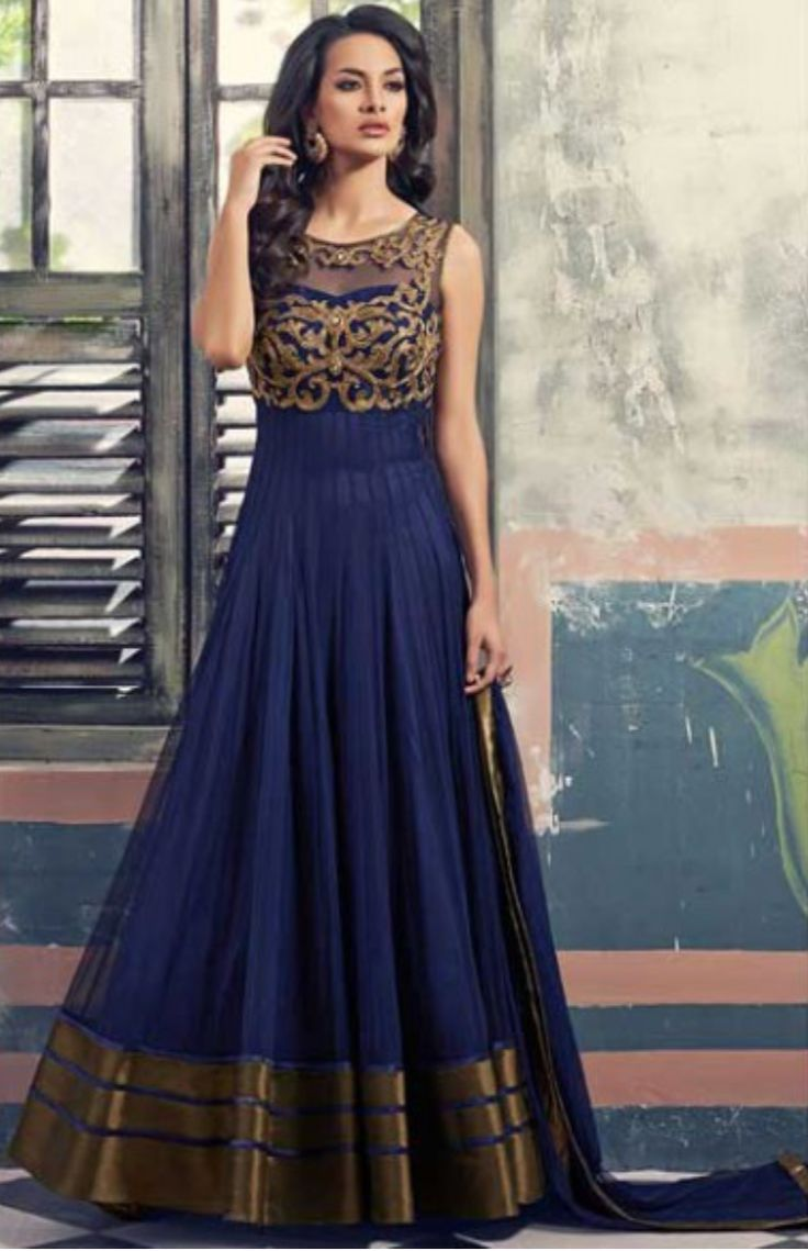Navy Blue Faux Georgette and Net Embroidered Festival Lawn Kameez is intricated…