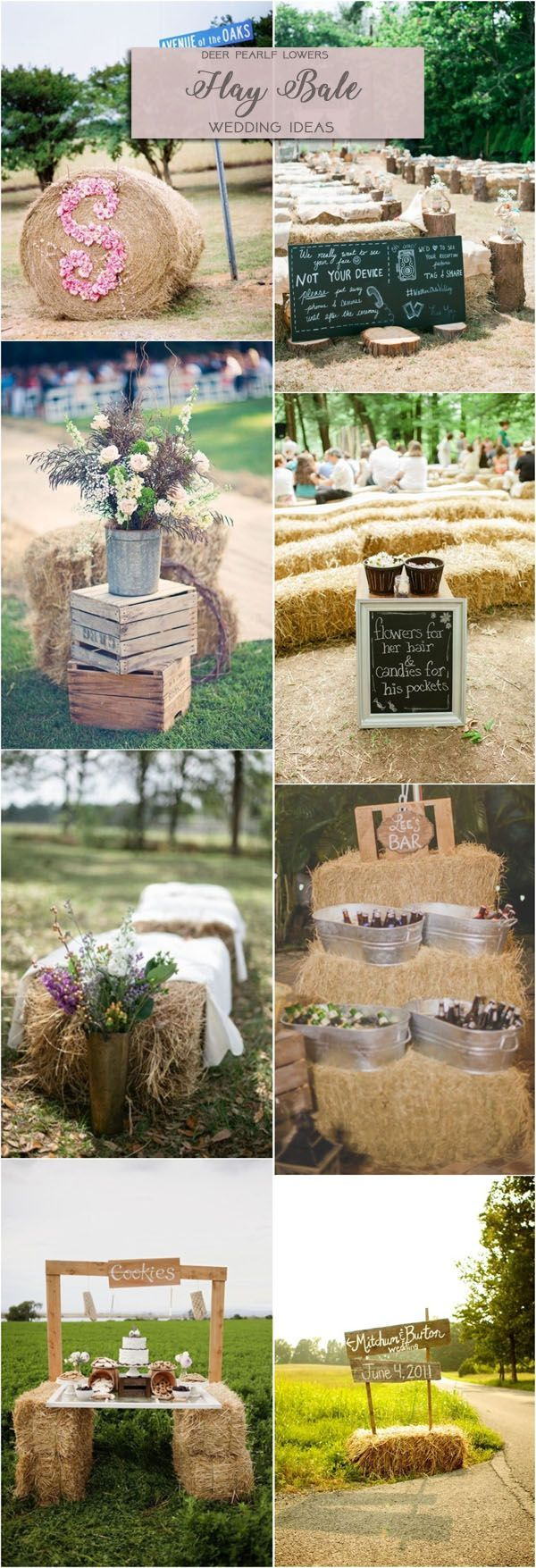 Rustic country farm hay bale wedding ideas / http://www.deerpearlflowers.com/rustic-wedding-themes-ideas/