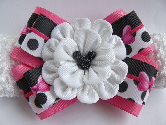 Crochet headband with Kanzashi flower bow/ by MARIASFLOWERPOWER