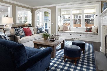 Traditional Living Room Design With Lots Of Navy Blue
