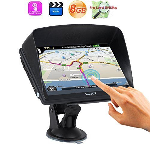 Xgody 7 Inch Portable Car GPS Navigation Sat Nav Capacitive Touch Screen Built-in 8GB FM MP3 MP4 Lifetime Map Black. For product info go to:  https://www.caraccessoriesonlinemarket.com/xgody-7-inch-portable-car-gps-navigation-sat-nav-capacitive-touch-screen-built-in-8gb-fm-mp3-mp4-lifetime-map-black/