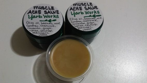 Unlike most herbal muscle salves that contain cayenne (which may be a sensitivity for some users), this muscle ache salve contains herbs to mimic the effect of Icy Hot.  Cinnamon and ginger for warming, mint for cooling, and chamomile, scullcap, and pedicularis for relaxation.  Sold in either a 2 oz container or 3 oz cosmetic jars.