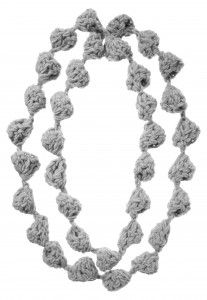 "Collana Divina (necklace) - Giuliano Marelli - free pattern (ita) - 200 gr GrignascoKnits ""Divino"" or ""Tyrol"" two strands together -Crochet hook n. 8 -ch = Chain -dc = double crochet -sl st = slip stitch *Ch 5, 7 dc in third ch from hook, slip st in first dc*, rep from * to *"