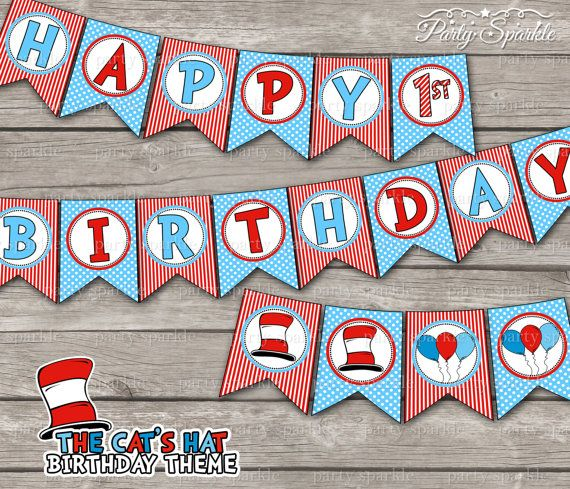 """Cat Birthday Banner: The Cat's Hat / Red And Blue """"Happy"""