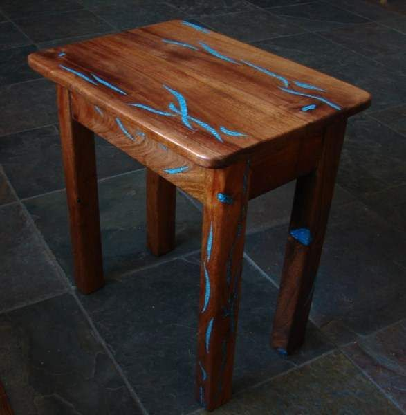 End Table Made From Mesquite Wood With Turquoise Inlay