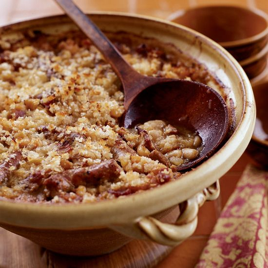 There are many recipes for cassoulet, the classic French dish that gets its name from the pot its baked in. This version includes duck confit and garlic sausage.
