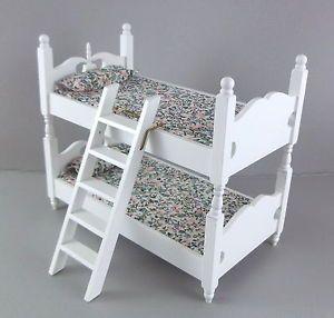Dolls-House-Miniature-1-12-Bedroom-Furniture-White-Wooden-Bunk-Beds-Bunkbeds