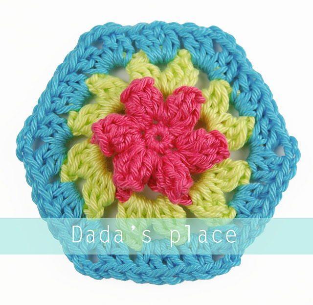 Floral Granny Hexagon   AllFreeCrochet.com