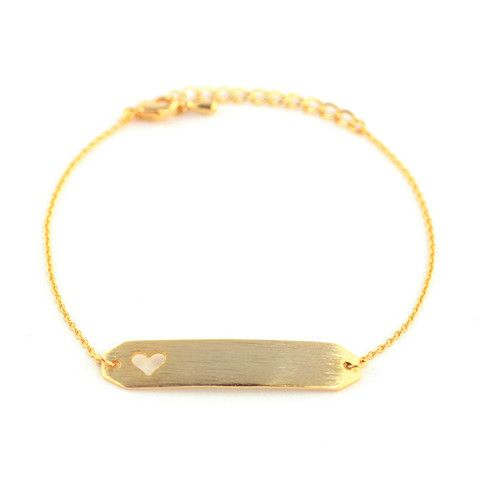 Name-Plate Heart Gold Bracelet