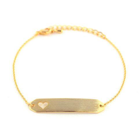 Name-Plate Heart Gold Bracelet