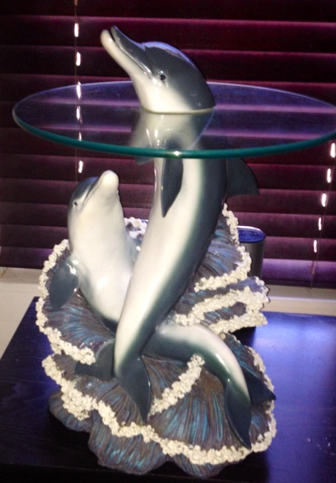 Unique Emerging Dolphin Head Sculpted Glass Top~Side~End~ Accent Table  Large EUC | Cool Stuff To Buy | Pinterest