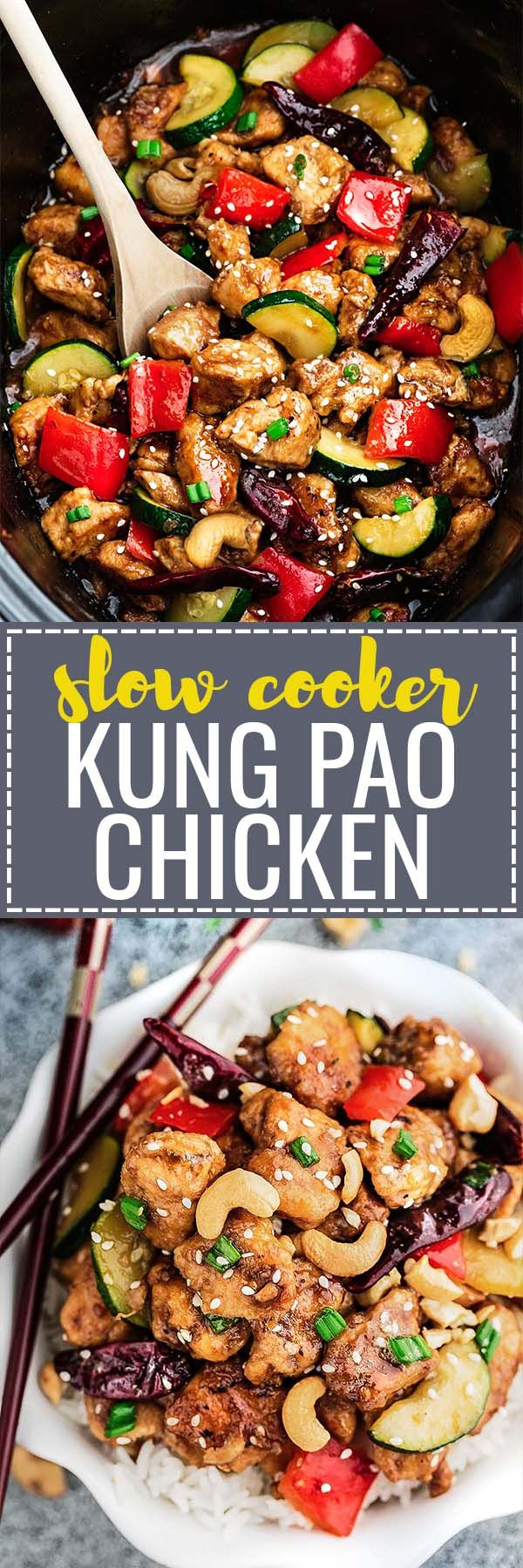 Healthier Slow Cooker Kung Pao Chicken makes the perfect easy and lightened up weeknight meal. Best of all, this takeout favorite, is SO much healthier and better than your local restaurant with just a few minutes of prep time. With gluten free and paleo friendly options.